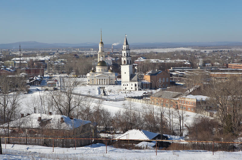 Demidov's leaning tower and the Transfiguration Cathedral. Nevyansk. Sverdlovsk region. Russia. Nevyansk - a city in the Sverdlovsk region, situated on the royalty free stock image