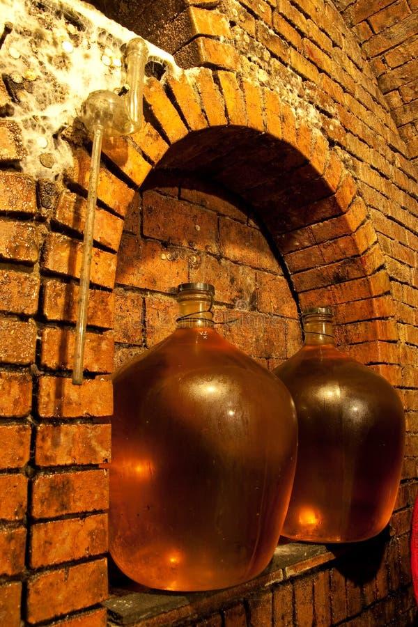 Demijohn in der Weinhöhle lizenzfreies stockbild