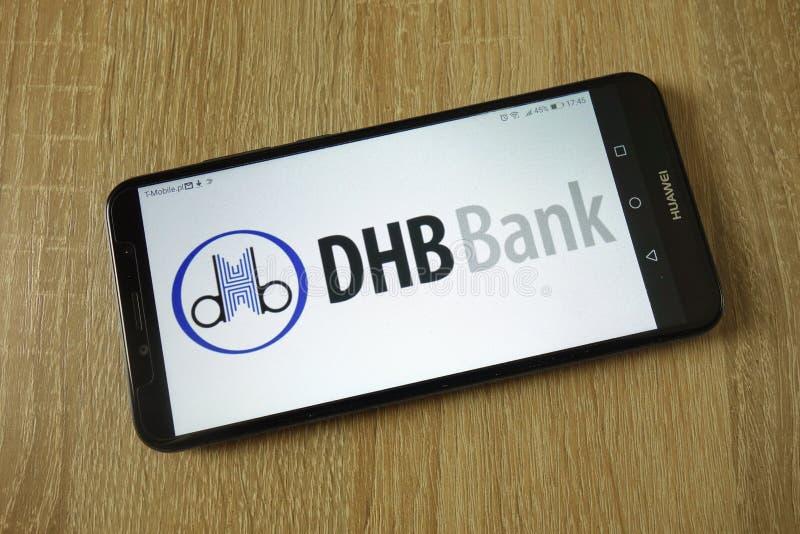 Demir-Halk λογότυπο τράπεζας DHB που επιδεικνύεται στο smartphone στοκ εικόνα