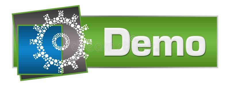 Demo Dotted Gear Green Blue kvadrerar horisontal royaltyfri illustrationer