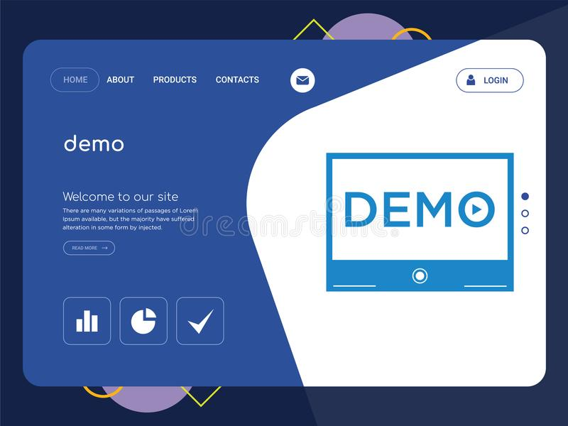 Demo landing page website template design stock illustration quality one page demo website template vector eps modern web design with flat ui elements and landscape illustration ideal for landing page maxwellsz