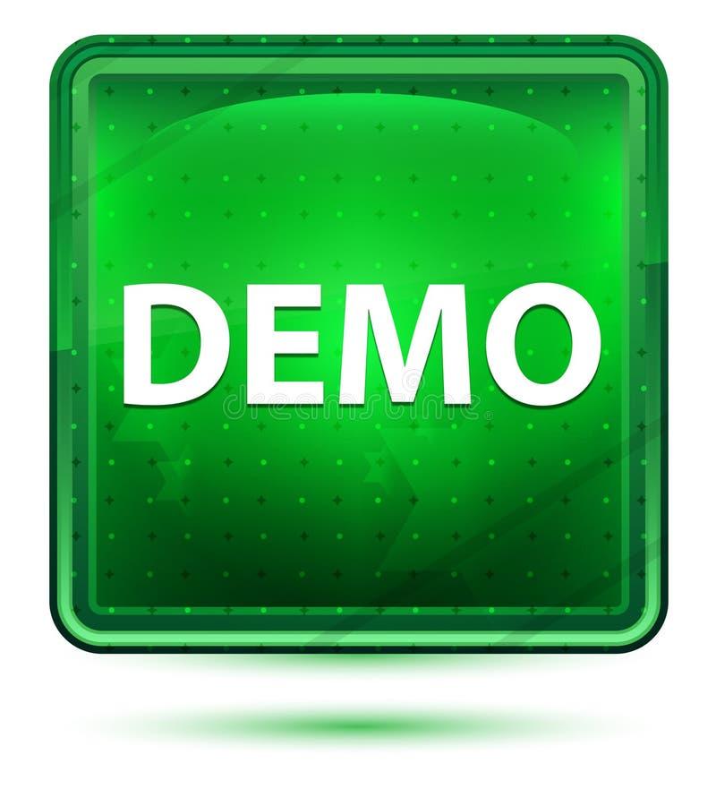 Demo Neon Light Green Square knapp stock illustrationer