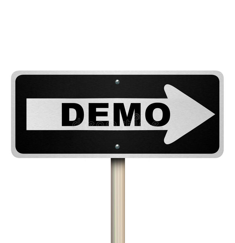 Demo Product Demonstration Road Sign Service Example stock illustration