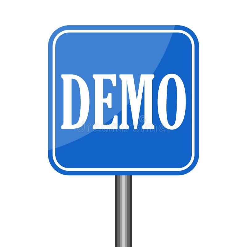 Demo Product Demonstration Road Sign serviceexempel vektor illustrationer