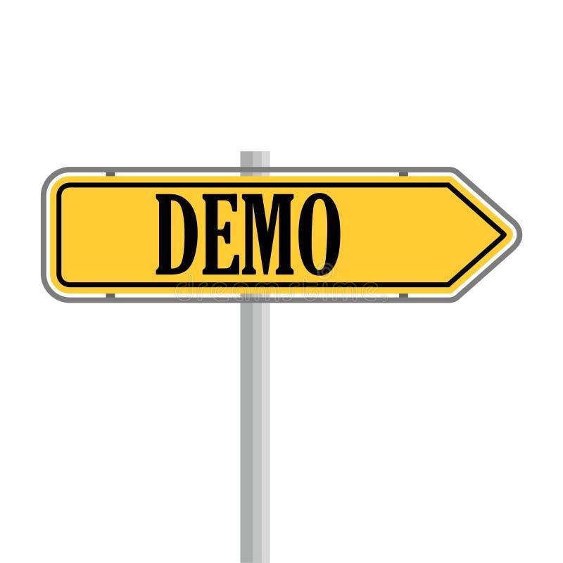 Demo Product Demonstration Road Sign serviceexempel royaltyfri illustrationer