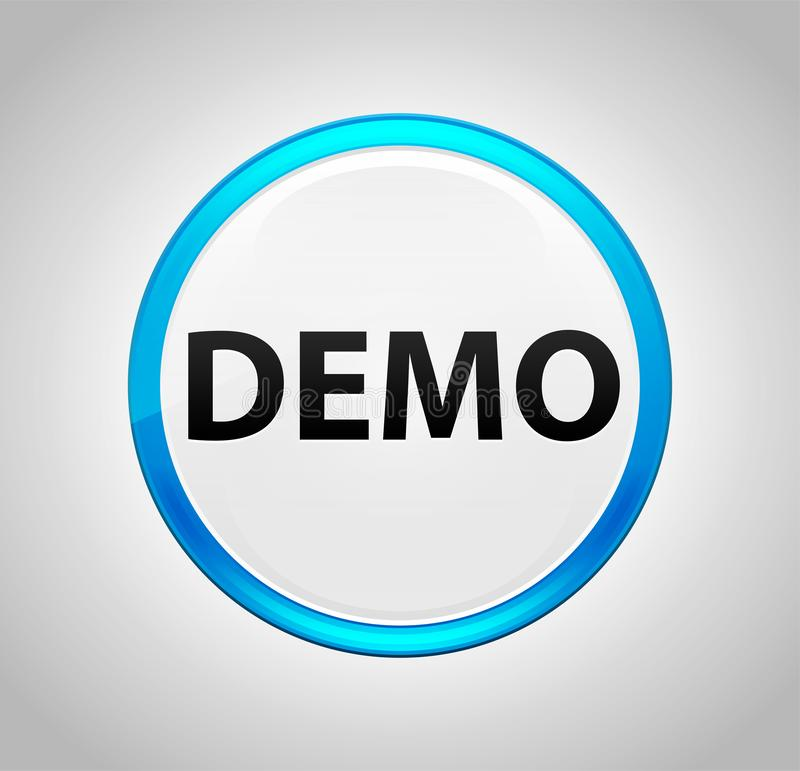Demo Round Blue Push Button stock illustrationer