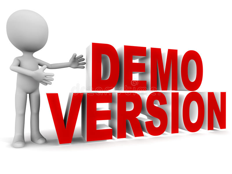 Demo version. Software, game or application demo version, little man standing with words on white stock illustration