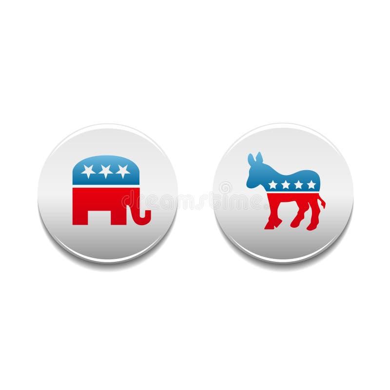 Democraat en Republikeinse politieke kentekens vector illustratie