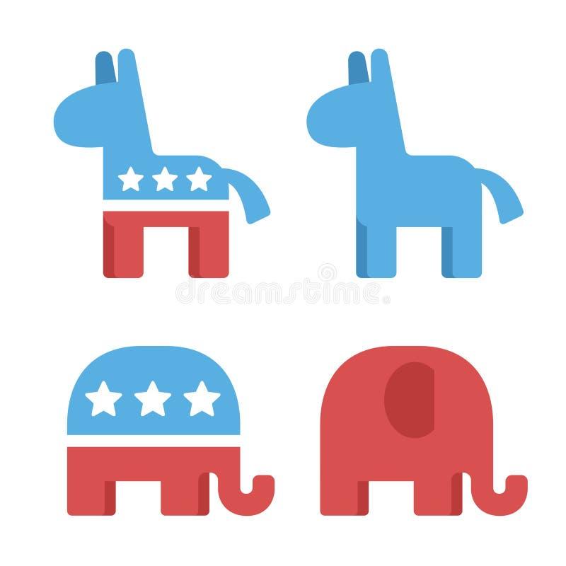 Democraat en republikeinse symbolen stock illustratie