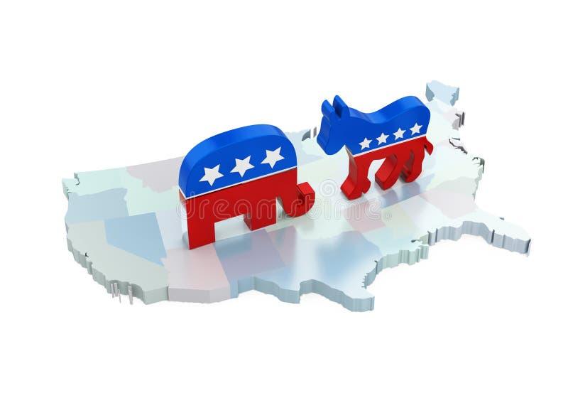 Democraatezel en Republikeinse Olifant met de Kaart van Amerika stock illustratie