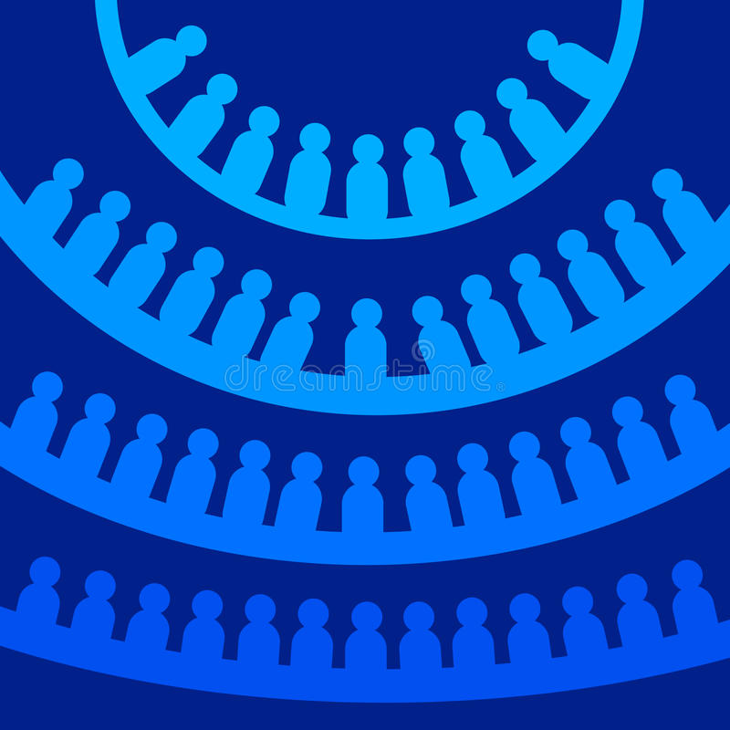 Democracy. People lined up in circles (parliament, social network, democracy concept royalty free illustration