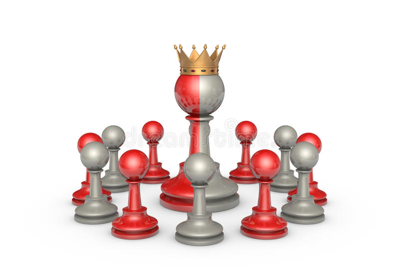 Democracy (chess metaphor). Chess Theater on a white background isolation. In the center of a two-faced king vector illustration