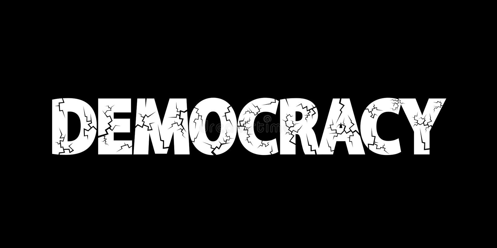 Democracy in danger. Democratic system is deteriorating and worsening. Decay and failure of politics and elections. Vector illustration stock illustration
