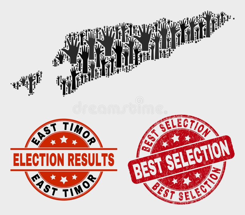 Collage of Vote East Timor Map and Scratched Best Selection Watermark stock illustration