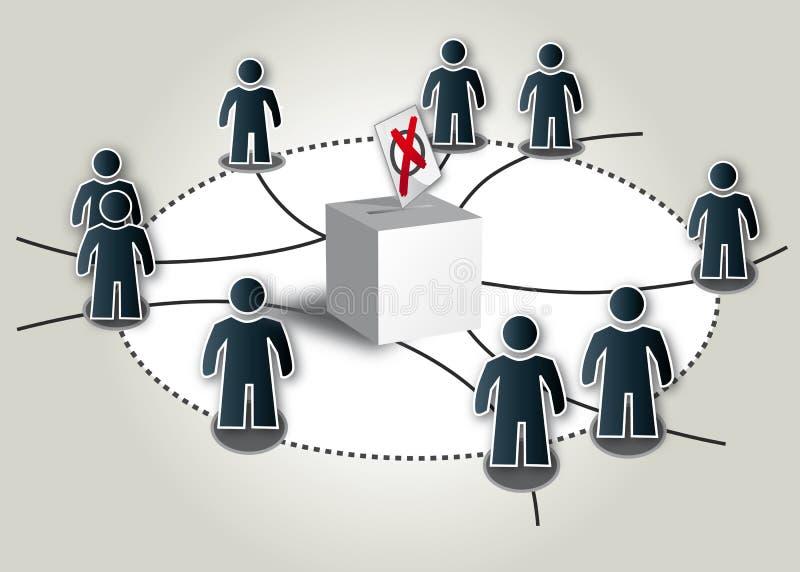 Democracy, elections. Illustration, Ballot box on background vector illustration