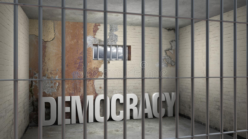 Democracy imprisoned. Democracy in prison - symbolic 3D rendering concerning totalitarian systems royalty free illustration