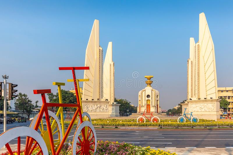 The Democracy Monument with bicycle installation, Bangkok, Thailand, Asia stock image
