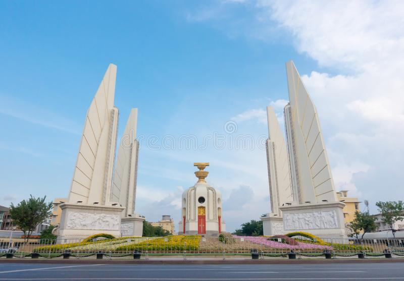 Democracy monument with blue sky in Bangkok Thailand stock image