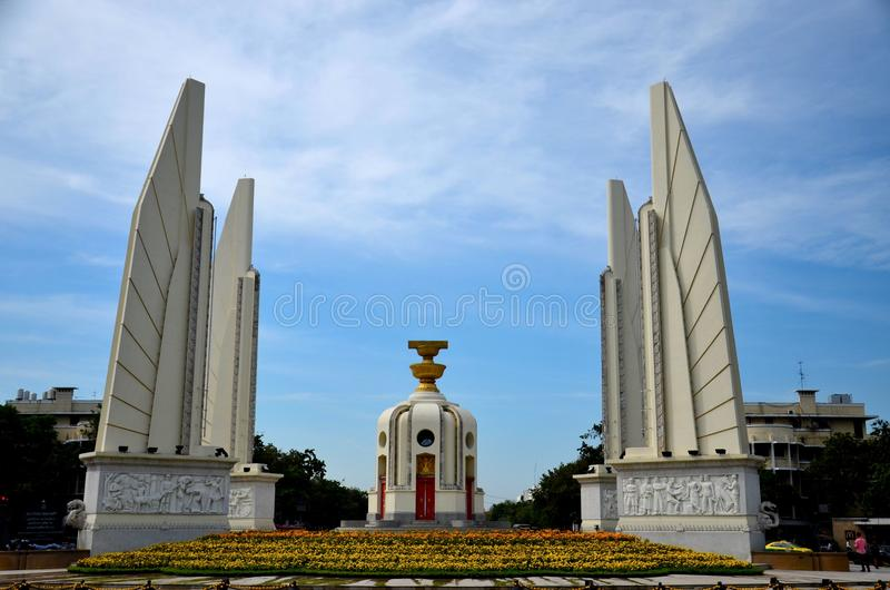 The Democracy Monument commemorating Siamese Revolution of 1932 Bangkok Thailand stock photography
