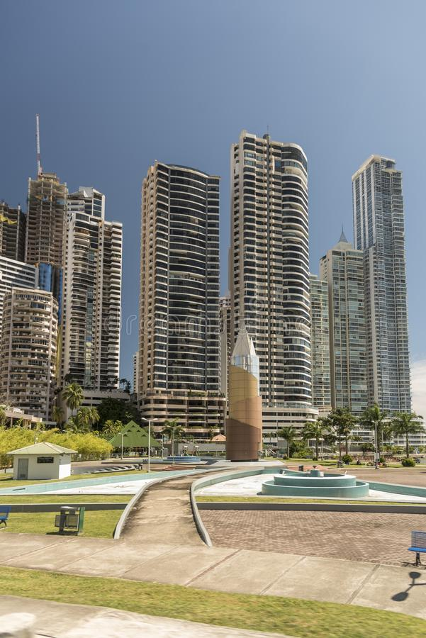 Democracy Plaza and modern skyscraper blocks in the new Panama City. Panama City, the capital of Panama, is a modern city framed by the Pacific Ocean and man stock images