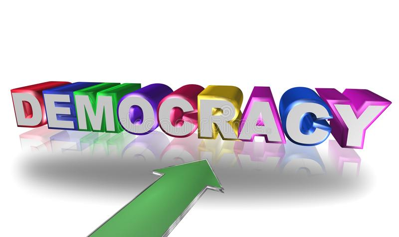 Democracy. Text 'democracy' in 3 D uppercase letters, white on the front and colored on the sides, with a large green arrow and white background with reflections vector illustration