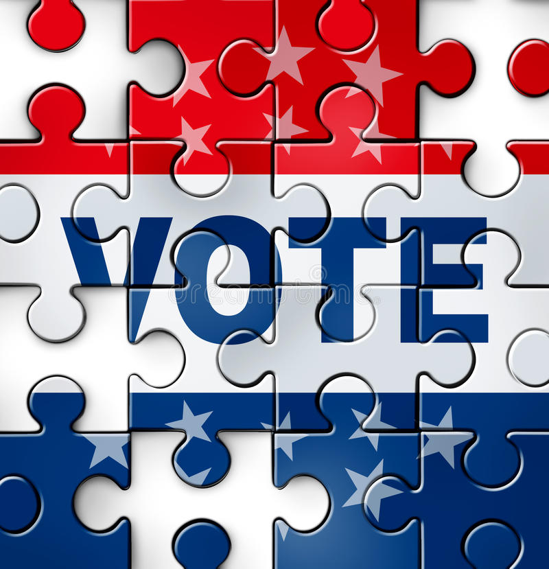 Democracy Vote Problems. Democracy vote and voting problems and irregularities in casting an election choice that is fair and transparent as a broken puzzle with stock illustration