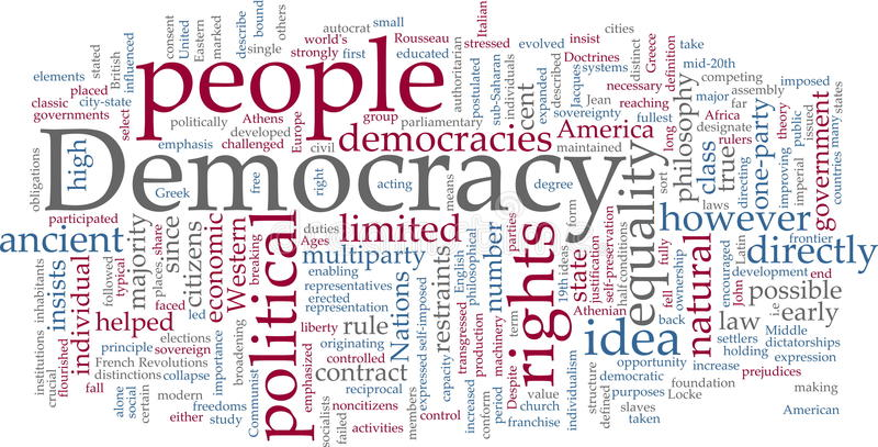 Democracy word cloud. Word cloud concept illustration of democracy political vector illustration