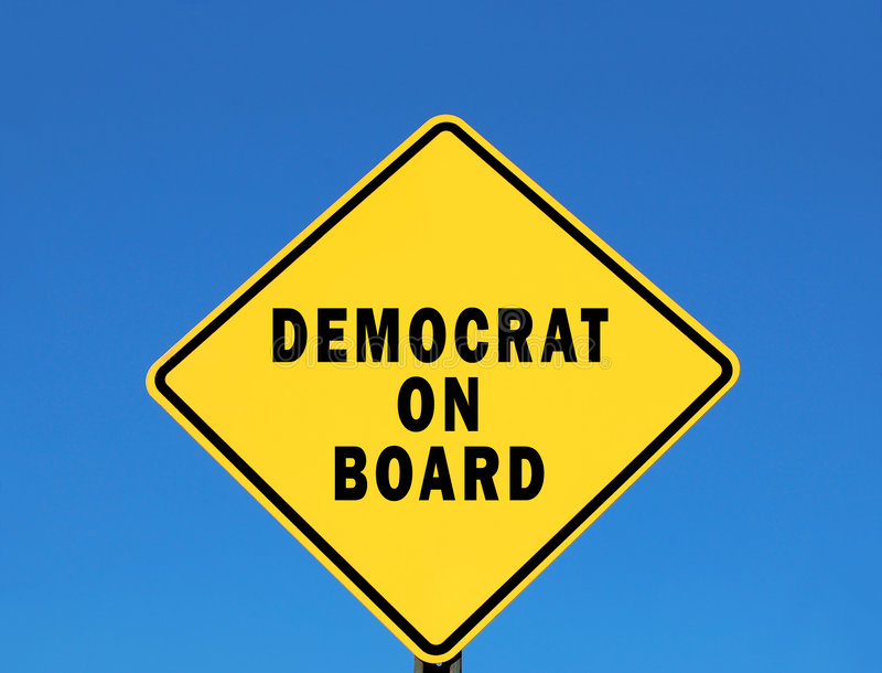 Democrat on Board. Yellow road sign with the words Democrat on Board royalty free stock photos