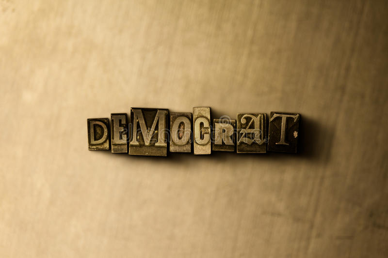 DEMOCRAT - close-up of grungy vintage typeset word on metal backdrop. Royalty free stock - 3D rendered stock image. Can be used for online banner ads and stock photography