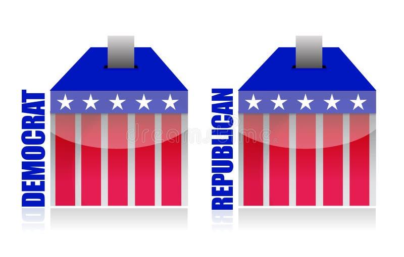 Democrat contra a caixa de cédula republicana ilustração stock
