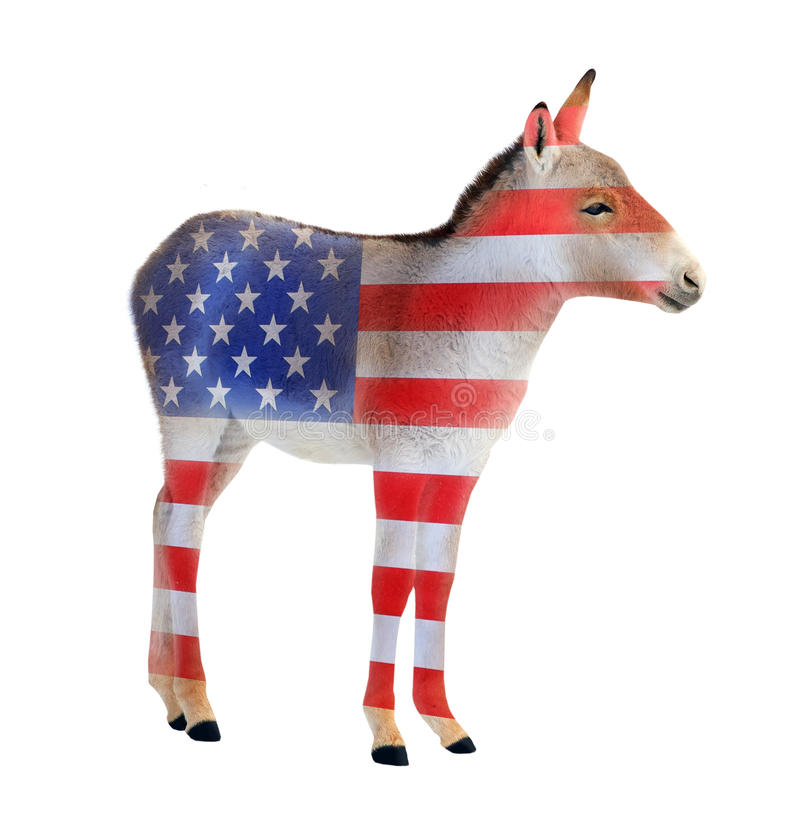 Democrat donkey. Democrat donkey colored as a american flag isolated on white background. Donkey going to elections. Digital artwork on political theme stock images