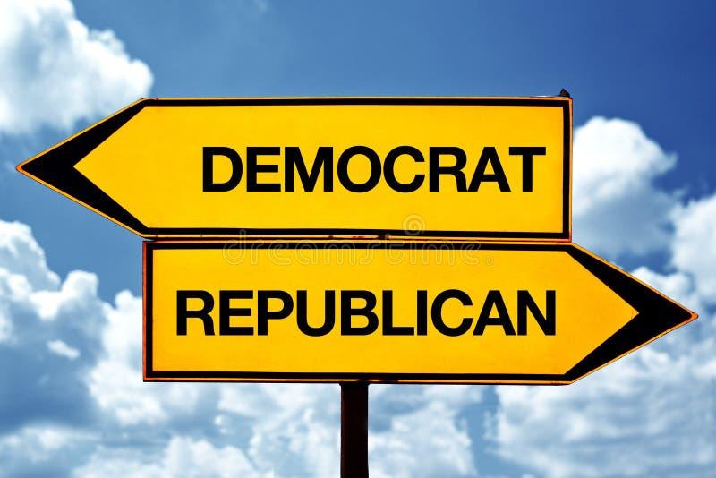 Democrat or republican, opposite signs. Democrat or republican opposite signs. Two blank opposite signs against blue sky background stock photo
