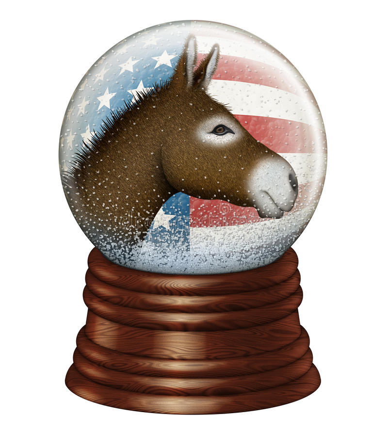 Democrat Snow Globe. Digital illustration of a snow globe containing stars and stripes and a donkey to represent the Democrat party stock photo