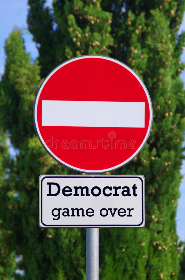 Democrat, stop here. Democrat, stop, your way to the leadership of the United States stops here royalty free stock image