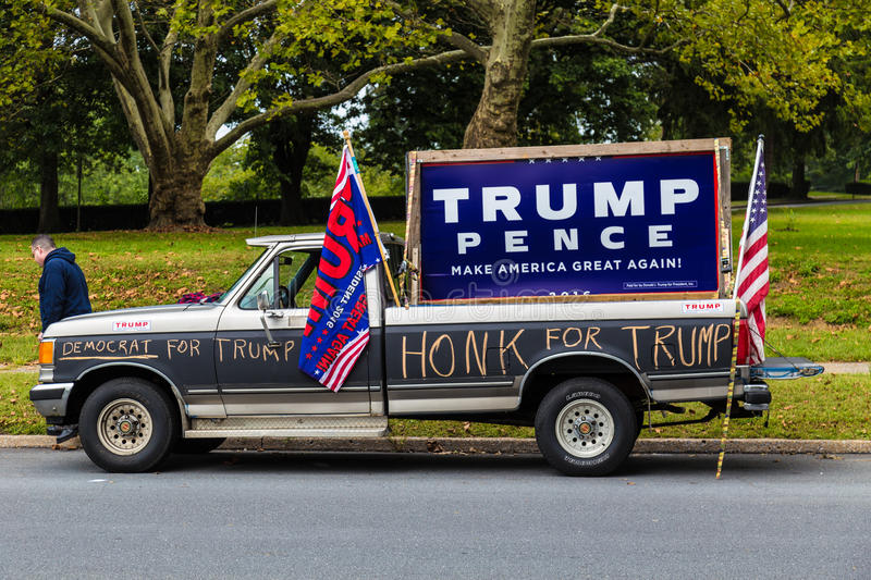 Democrat for Trump truck. Harrisburg, PA - October 4, 2016: A Democrat for Trump truck parked at Hillary Clinton campaign event royalty free stock photography
