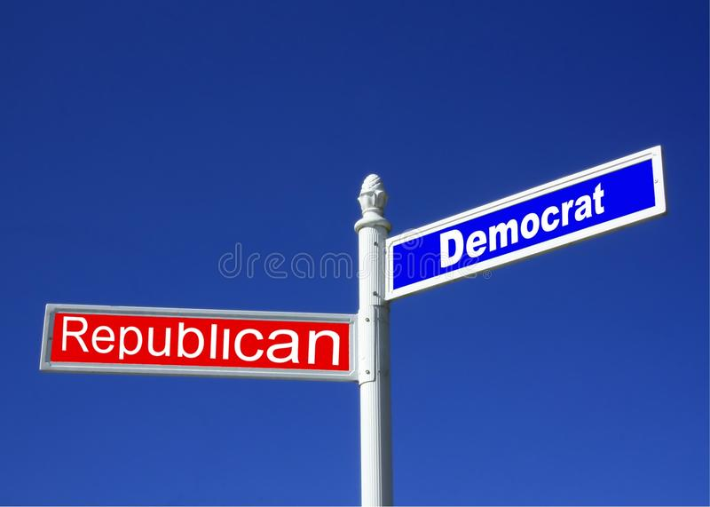 Democrat vs GOP Sign. Street sign against a clear blue sky depicting Republican vs Democrat Party royalty free stock photography