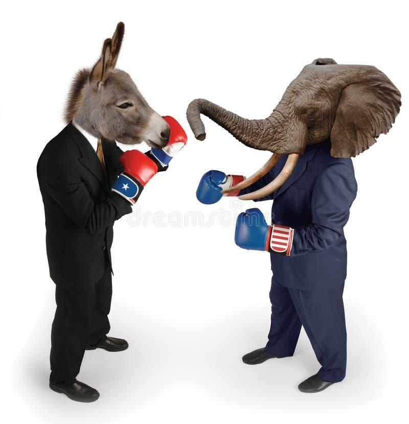 Democrat vs. Republican. Republican & Democrat boxing on white stock images