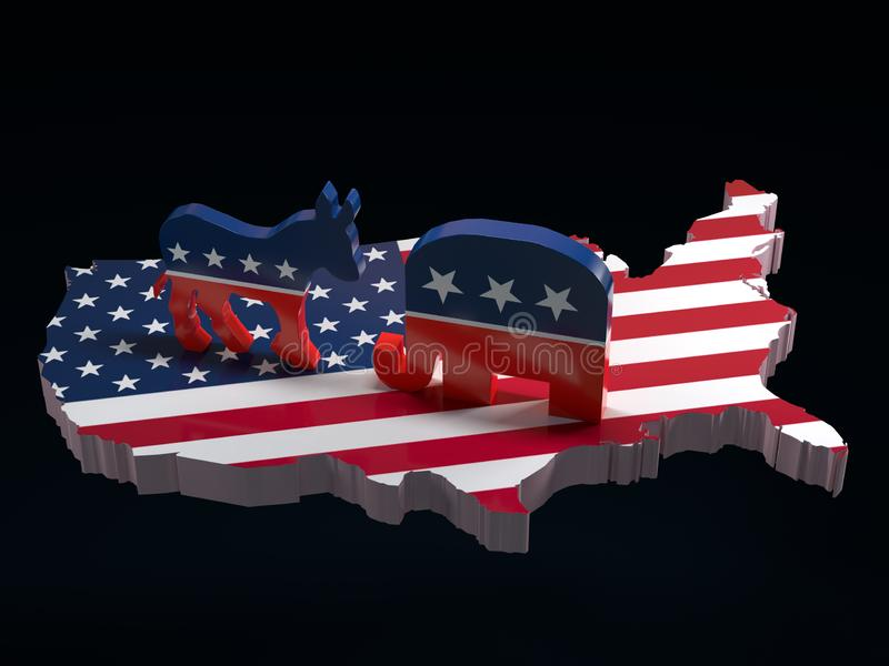 Democratenezel versus de symbolen van de Republikeinenolifant op de kaart van de V.S. royalty-vrije illustratie