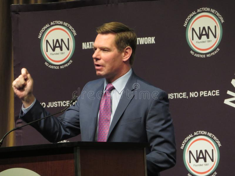 Democratic candidate Eric Swalwell at National Action Network royalty free stock photos