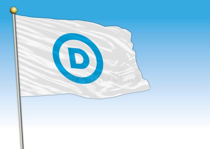 Democratic Party flag, United States, vector illustration, editorial stock illustration