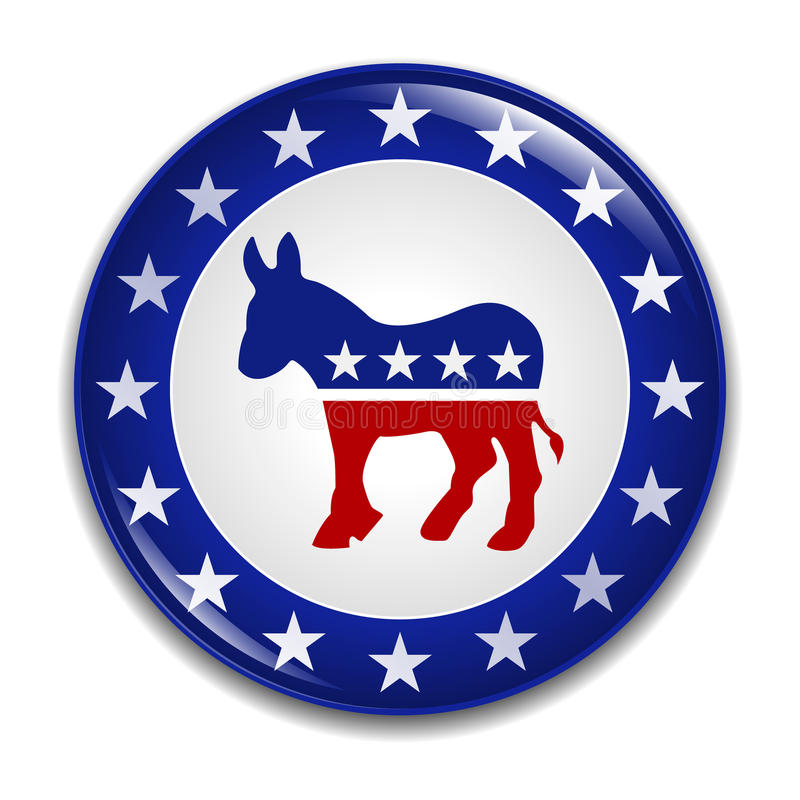Democratic Party Logo Badge. An illustration of a glossy badge for the democratic party