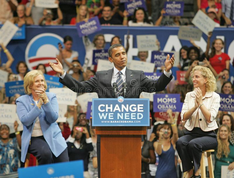 Barack Obama Speaks at a Rally. Democratic presidential candidate Senator Barack Obama, flanked by Sen. Claire McCaskill L and Rep. Debbie Wasserman Schults royalty free stock image