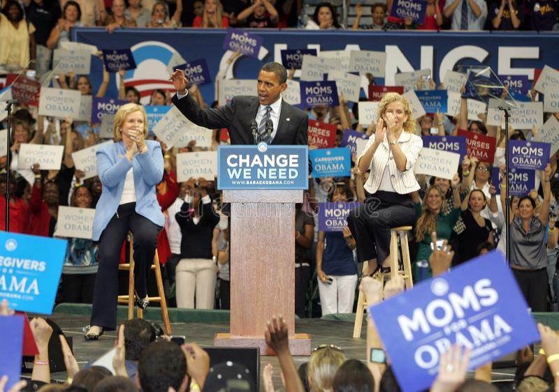 Barack Obama Speaks at a Rally. Democratic presidential candidate Senator Barack Obama, flanked by Sen. Claire McCaskill L and Rep. Debbie Wasserman Schults stock photos