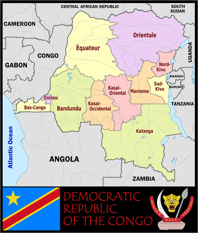 Democratic Rep Congo Administrative Divisions Stock Illustration