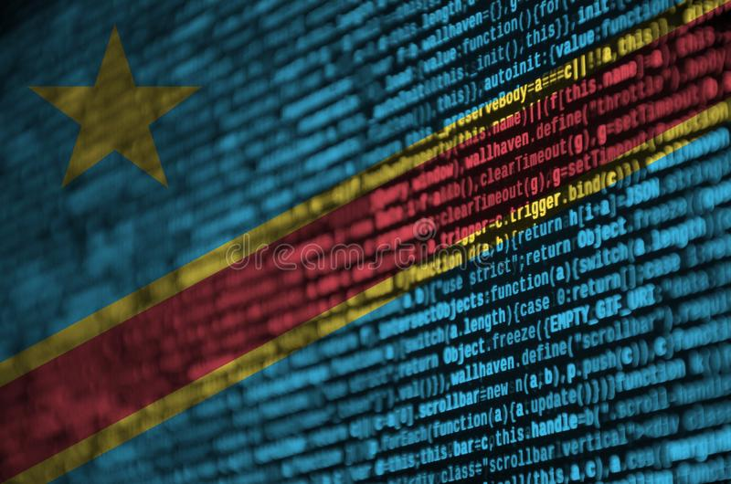 Democratic Republic of the Congo flag is depicted on the screen with the program code. The concept of modern technology and site. Development stock illustration