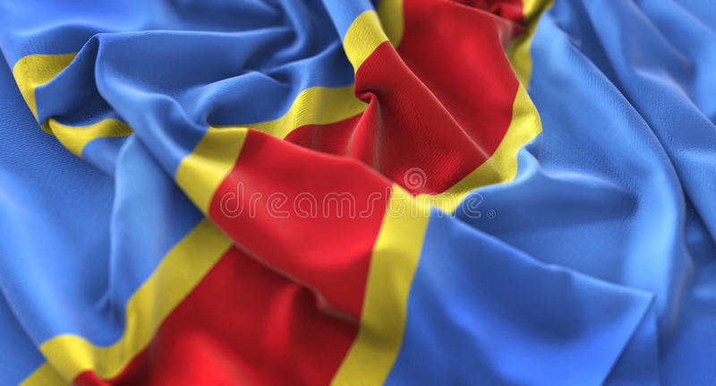 Democratic Republic of the Congo Flag Ruffled Beautifully Waving. Macro Close-Up Shot Studio royalty free stock image
