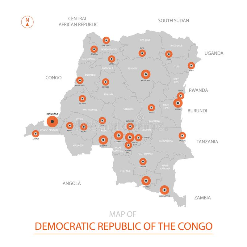 Congo Map With Administrative Divisions. Stock Vector