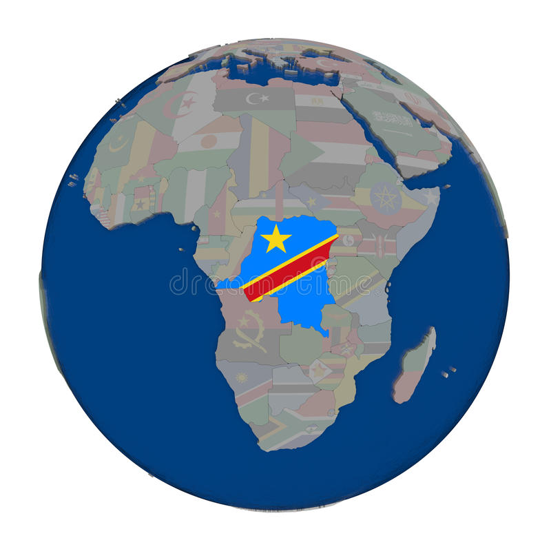 Democratic Republic of Congo on political globe. Democratic Republic of Congo with embedded national flag on political globe. 3D illustration isolated on white vector illustration