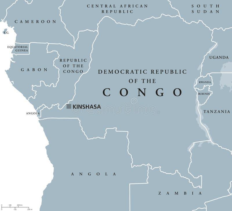 Democratic Republic Of The Congo Political Map Stock Vector