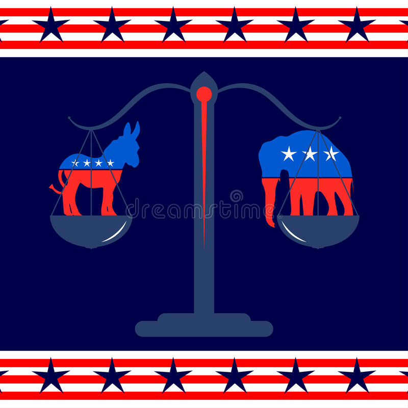 Democratic And Republican Party Symbols Editorial Image